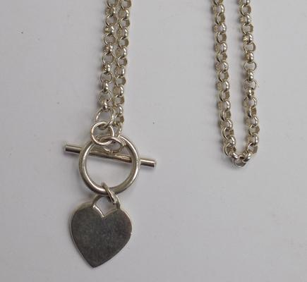 Sterling silver belcher chain necklace with heart toggle clasp-boxed