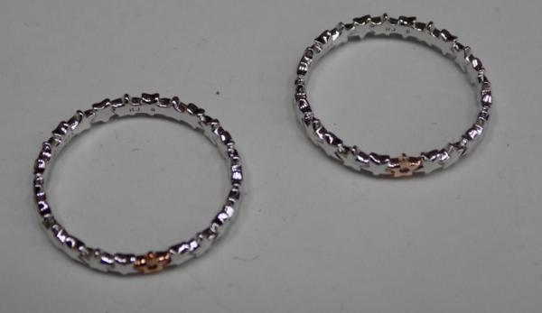 2x Brand new sterling silver diamond band rings