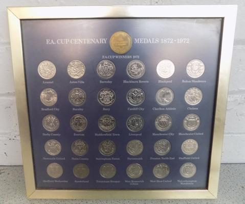 FA Cup Centenary medals, 1872-1972, framed