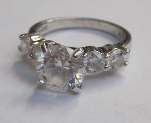 925 Silver & CZ ring size J-boxed