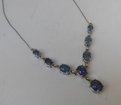 925 Silver & opal necklace