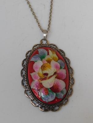 Large vintage enameled pendant on silver chain