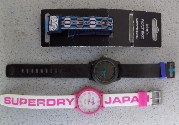 Animal watch with animal watch strap + Superdry Japan watch - both W/O