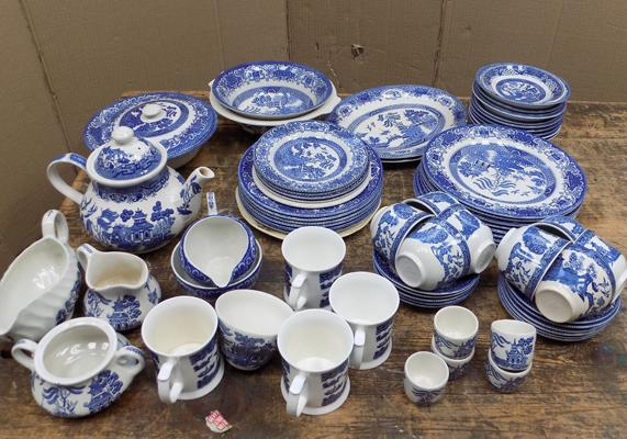 Large collection of blue & white pottery