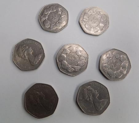 7x Old type 50p coins 1973