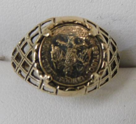 9ct Gold Mexican gold coin ring size K1/2