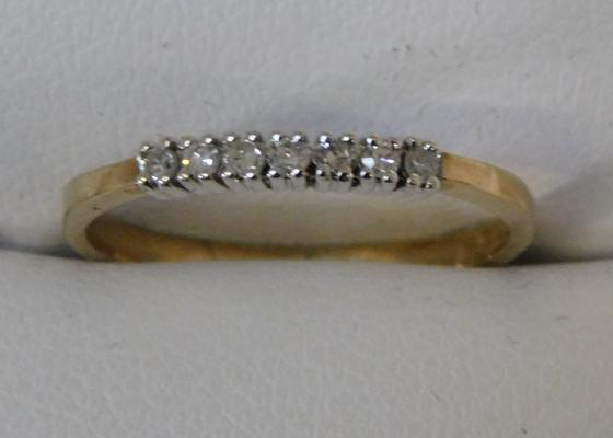 9ct Gold diamond 1/4 eternity ring size L1/2