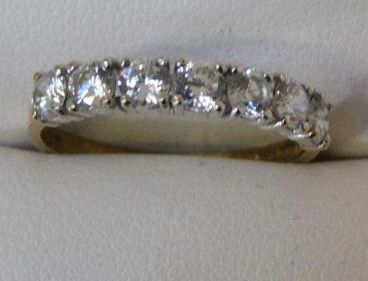 9ct Gold 1/2 eternity ring size N1/4