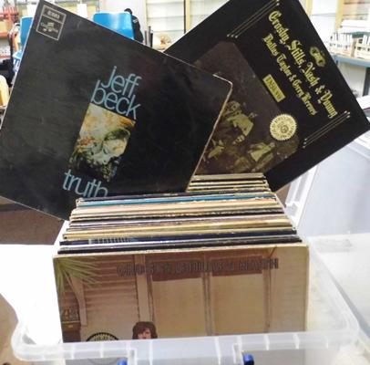 Crate of LP records - Crosby Stills, Yes, Kiss, Rock/Pop etc...