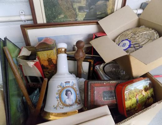 Box of vintage collectables, silver plate, treen, tins, Wade Whisky bell etc....