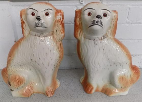 Pair of vintage Staffordshire style large dogs, approx. 13 1/2 inches high (age related wear)