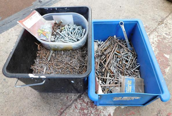 Boxes of assorted nails & screws