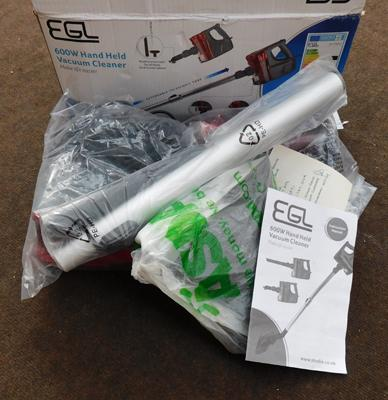 EGL 600W handheld vac and accessories - boxed, W/O