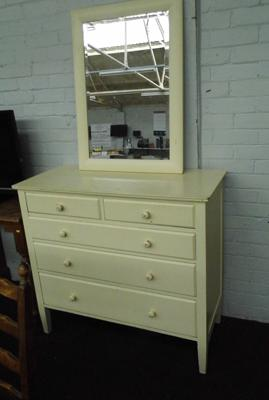 Two over three painted chest of drawers with mirror