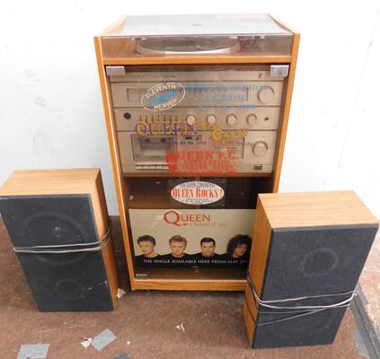 Fidelity stereo system with turntable, speakers & cabinet