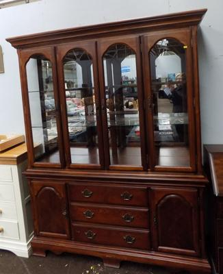 Yew wood display cabinet