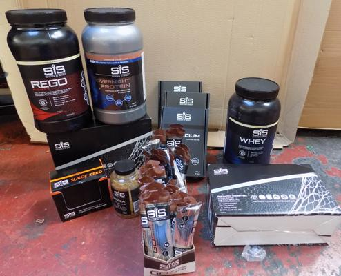 Box of SiS protein gels, supplements, shakes etc...