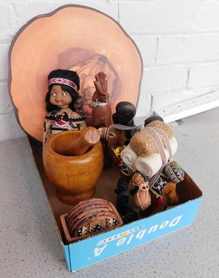 Box of  collectables, incl. hand carved treen African statues