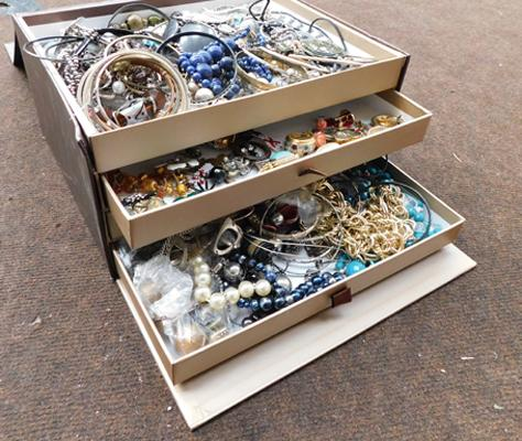 Large selection of jewellery in box