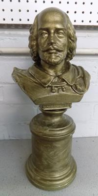 Large ceramic bust of W. Shakespeare by Sculpted Studios, London, stamp to base, from film set of Victoria, filmed at Wentworth House - approx. 19 inches high