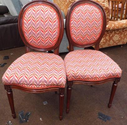 Pair of tapestry reception chairs