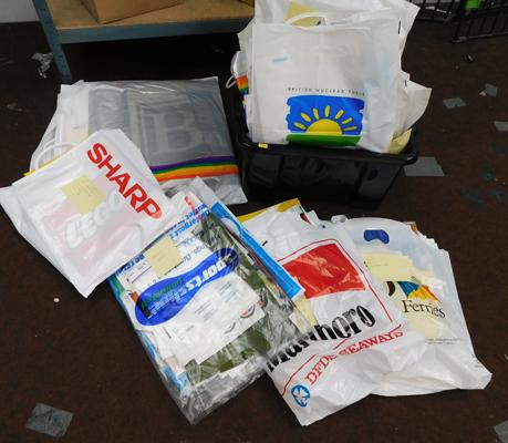 Large collection of carrier bags (over 600) all sorted int categories 1970s to 1990s