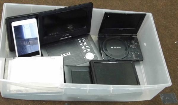 Box of tablets, portable DVD players etc...