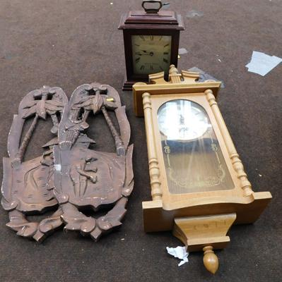 Pair of wall hangings and two clocks