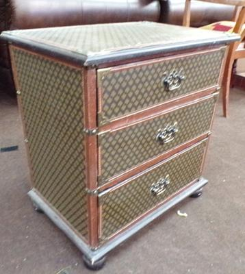 Three drawer leather over wood chest of drawers