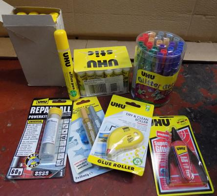 Assortment of UHU glue packs & other items