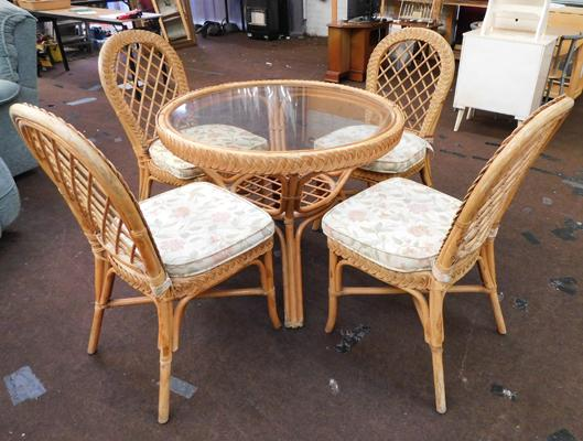 Cane & wicker glass topped table + four chairs