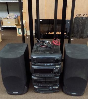 Kenwood Hi-Fi system with triangular based speaker stands + speakers (Quick 10K)