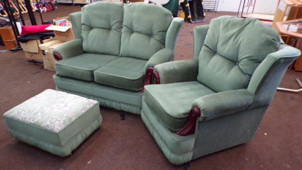 Two seater settee, armchair & pouffe