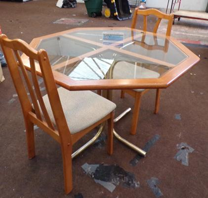Glass topped octagonal table + two chairs