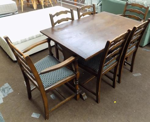 Oak table & six chairs