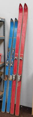 Two vintage pairs of skis
