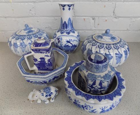 Collection of blue & white ware