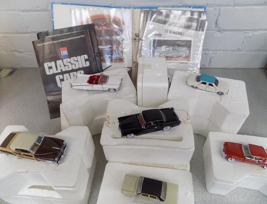 Set of Franklin Mint Classic cars of the Fifties with certificates in folder