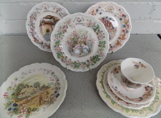 Bramley Hedge plates & cup (no damage found) + two Royal Albert Seasons plates