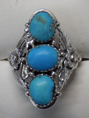 Large sterling silver, turquoise Navajo ring