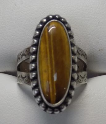 Navajo style silver tigers eye ring, fully hallmarked