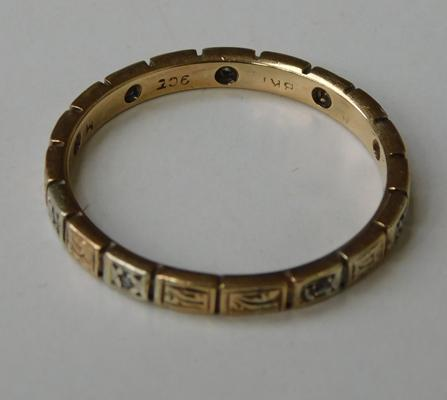 9ct gold & diamond full eternity ring, size U 1/2