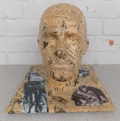 Vintage decoupage head on base