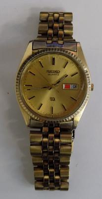 Gents Seiko quartz SQ wrist watch, gold plated, day date, numbered to back