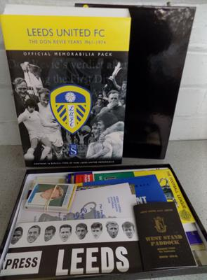 Leeds United FC The Don Revie Years Official Memorabilia Pack 61-74. Including Programmes, Player Cards, Hat, Letters etc.
