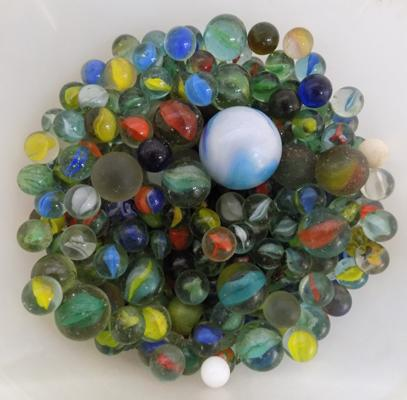 Large tub of vintage marbles