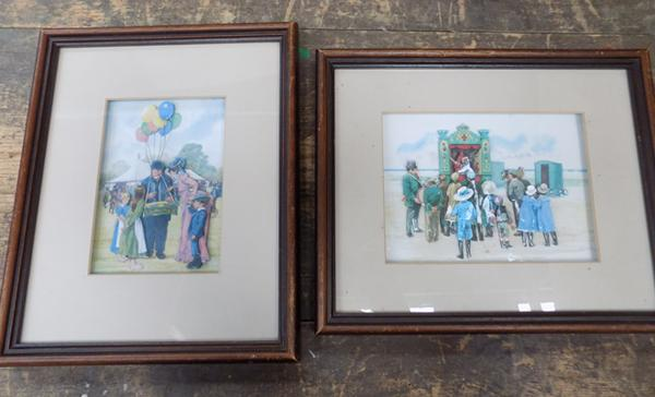 2 x Framed fairground 3D decoupage