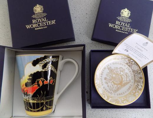 Boxed Royal Worcester Ltd Edition China Coaster and Art Deco series mug