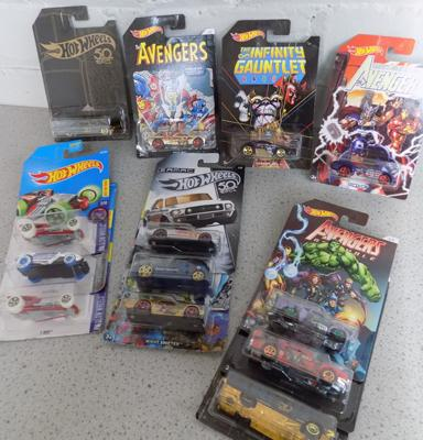 13 Hot Wheels Marvel Avengers Cars and others (sealed in packs)