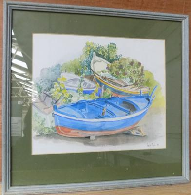 Vintage framed watercolour on board by Artist Margo Ashton